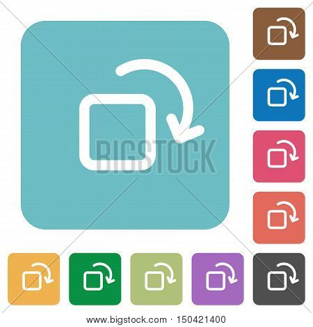 Flat rotate element icons on rounded square color backgrounds.