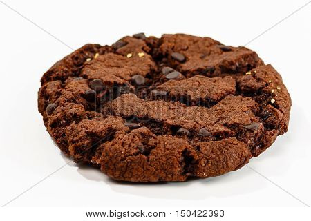 Cookies With Raisins And Chocolate Lying On White Background.