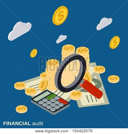Business audit, analytics, control, report, financial statistic flat isometric vector concept illustration