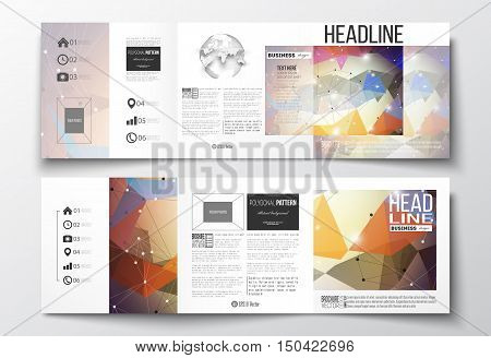 Vector set of tri-fold brochures, square design templates with element of world globe. Molecular construction with connected lines and dots, scientific pattern on abstract colorful polygonal background, modern stylish triangle vector texture.
