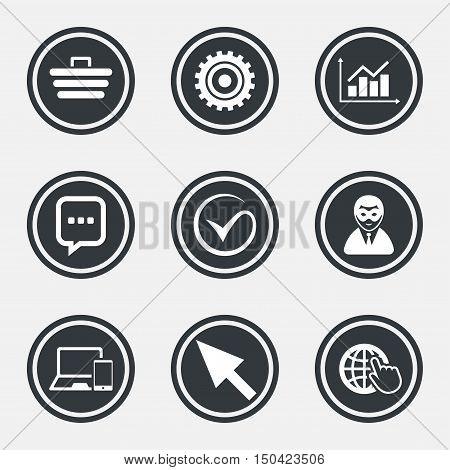 Internet, seo icons. Tick, online shopping and chart signs. Anonymous user, mobile devices and chat symbols. Circle flat buttons with icons and border. Vector