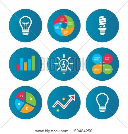 Business pie chart. Growth curve. Presentation buttons. Light lamp icons. Fluorescent lamp bulb symbols. Energy saving. Idea and success sign. Data analysis. Vector