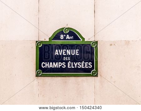 Avenue Des Champy Elysees - Old Street Sign In Paris