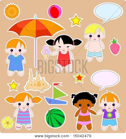 Beautiful summer set of children and toys. All images are separated