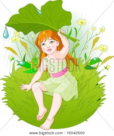 Niedliche kleine Mädchen tragen Regenschutz, mit Blatt