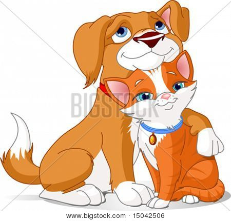 Great illustration of a Cute Dog hugging a Cat