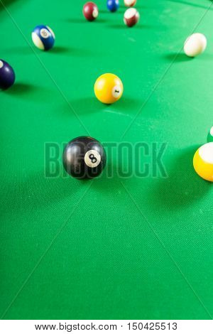 Snooker Ball On Billiard Table