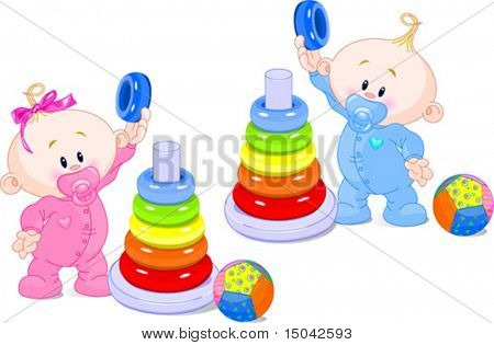 The toddler boy and girl plays developing game. Color pyramid.