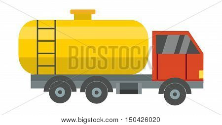 Gas oil truck. Oil logistic petroleum transportation, truck car, tankerl flat vector illustration.