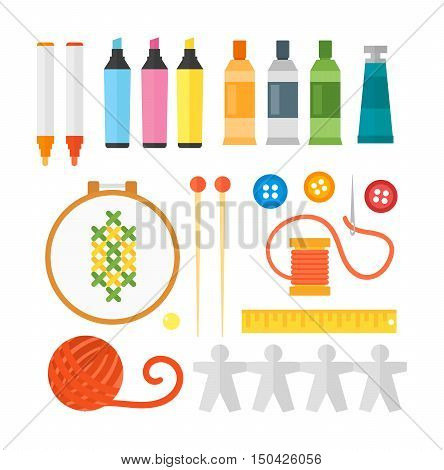 Themed kids creativity creation symbols art poster in flat style vector.  artistic objects for children art school.