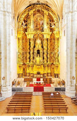 SALAMANCA, SPAIN - September 02, 2016: Gold baroque altar in Convent of St. Stephen in Salamanca