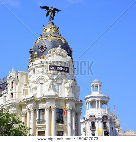 MADRID, SPAIN - September 01, 2016: Cupola of Metropolis building on the corner of Calle de Alcala and Gran Via in Madrid