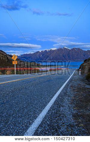 beautiful scenic of lake hawea route between aspiring national park and wanaka town at dusk