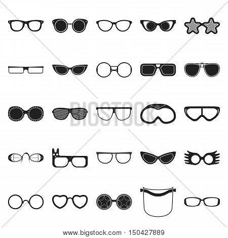Glasses 25 black simple icons set for web design