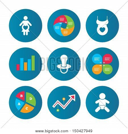 Business pie chart. Growth curve. Presentation buttons. Maternity icons. Baby infant, pregnancy and dummy signs. Child pacifier symbols. Shirt with heart. Data analysis. Vector