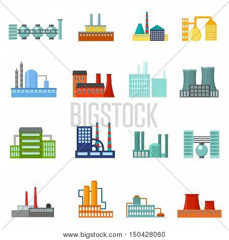 Factory power electricity industry manufactory buildings set of vector icons in flat design