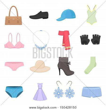 Clothing set of vector icons. Fashion clothes in cartoon style for web.