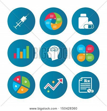 Business pie chart. Growth curve. Presentation buttons. Medicine icons. Medical tablets bottle, head with brain, prescription Rx and syringe signs. Pharmacy or medicine symbol. Data analysis. Vector