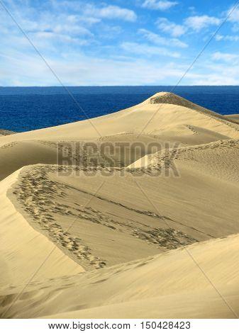 Sand dunes Maspalomas of Gran Canaria Canary Islands