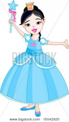 Beautiful little princess in blue dress with magic wand.