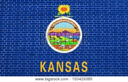 Kansan official flag symbol. American patriotic element. USA banner. United States of America background. Flag of the US state of Kansas on brick wall texture background, 3d illustration