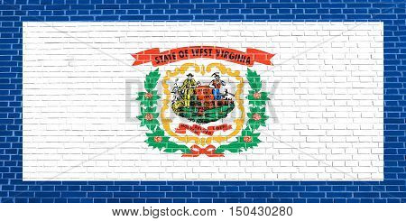 West Virginian official flag symbol. American patriotic element. USA banner. United States of America background. Flag of the US state of West Virginia on brick wall texture background, 3d illustration