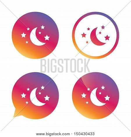 Moon and stars icon. Sleep dreams symbol. Night or bed time sign. Gradient buttons with flat icon. Speech bubble sign. Vector