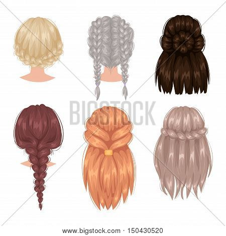 Vector design of beautiful collection of female hairstyle back view. Portrait beautiful woman hairstyle straight smooth hair. Styling brunette woman hairstyle fashion pretty profile.