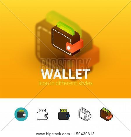Wallet color icon, vector symbol in flat, outline and isometric style isolated on blur background