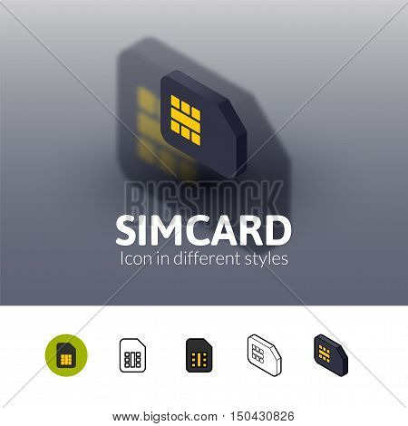 Simcard color icon, vector symbol in flat, outline and isometric style isolated on blur background