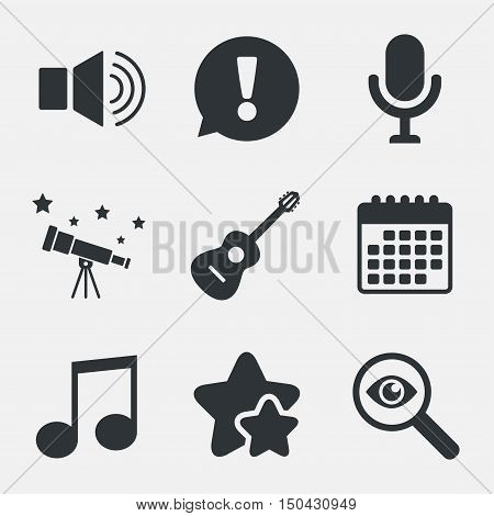 Musical elements icons. Microphone and Sound speaker symbols. Music note and acoustic guitar signs. Attention, investigate and stars icons. Telescope and calendar signs. Vector