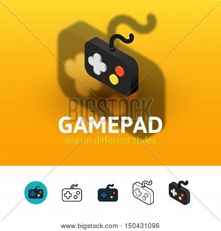 Gamepad color icon, vector symbol in flat, outline and isometric style isolated on blur background