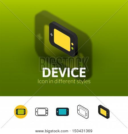 Device color icon, vector symbol in flat, outline and isometric style isolated on blur background