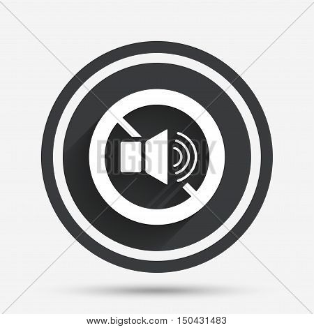 Speaker volume sign icon. No Sound symbol. Circle flat button with shadow and border. Vector