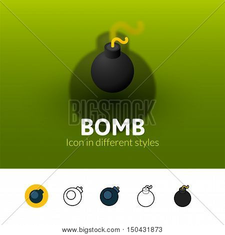Bomb color icon, vector symbol in flat, outline and isometric style isolated on blur background