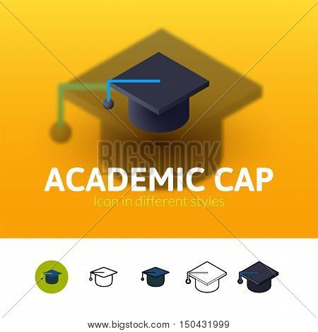 Academic cap color icon, vector symbol in flat, outline and isometric style isolated on blur background