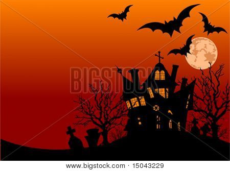 Horizontal Halloween flyer with a haunted house and graveyard