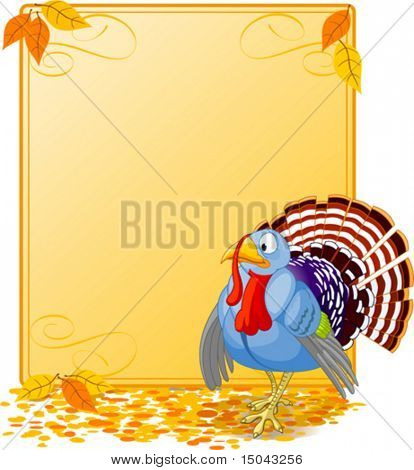 Cartoon turkey strutting with plumage. Elements are layered for easy editing.  Great for invitations, announcements, place cards, etc.
