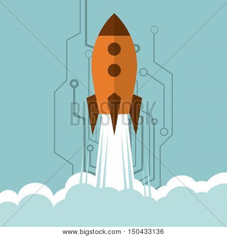 rocket with science related icons image vector illustration