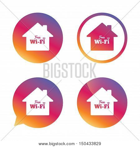 Home wifi sign. Wifi symbol. Wireless Network icon. Wifi zone. Gradient buttons with flat icon. Speech bubble sign. Vector