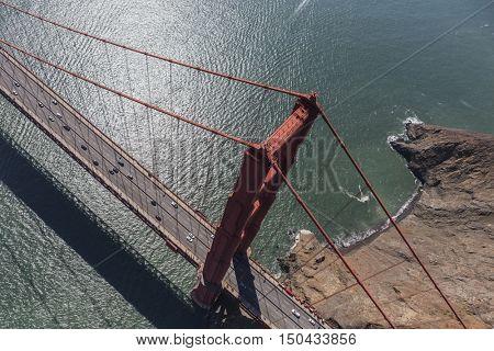 Aerial view above the Golden Gate Bridge in San Francisco, California.