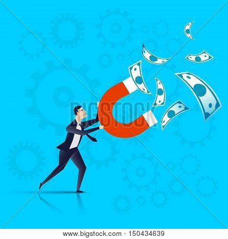 businessman with a magnet in his hands attracts money, businessman attract capital investment - business concept. Vector illustration