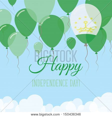 Tajikistan Independence Day Flat Greeting Card. Flying Rubber Balloons In Colors Of The Tadzhik Flag
