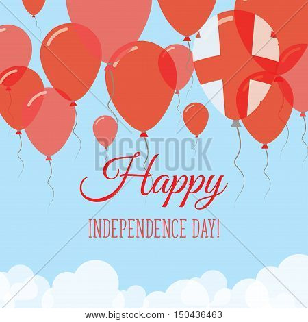 Georgia Independence Day Flat Greeting Card. Flying Rubber Balloons In Colors Of The Georgian Flag.