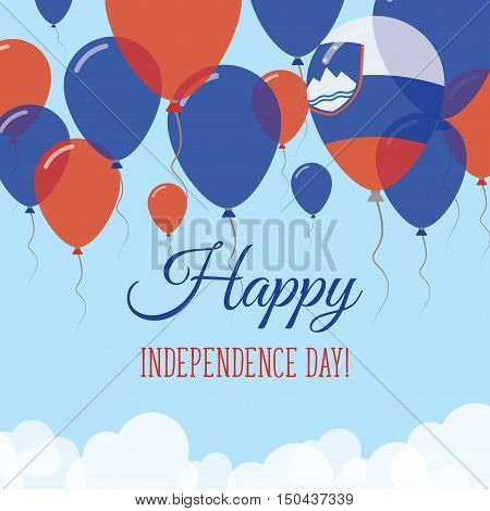 Slovenia Independence Day Flat Greeting Card. Flying Rubber Balloons In Colors Of The Slovene Flag.