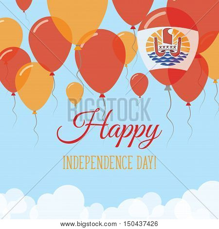 French Polynesia Independence Day Flat Greeting Card. Flying Rubber Balloons In Colors Of The French