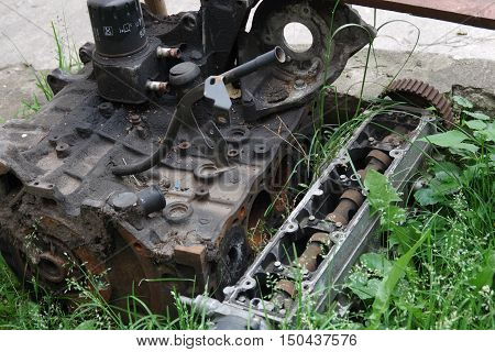 Background for design. Old automobile internal combustion engine.