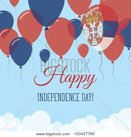 Serbia Independence Day Flat Greeting Card. Flying Rubber Balloons In Colors Of The Serbian Flag. Ha