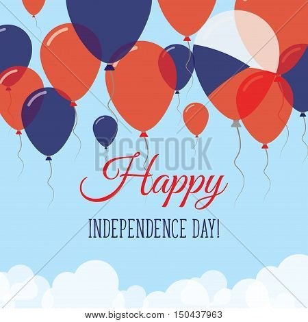 Czech Republic Independence Day Flat Greeting Card. Flying Rubber Balloons In Colors Of The Czech Fl