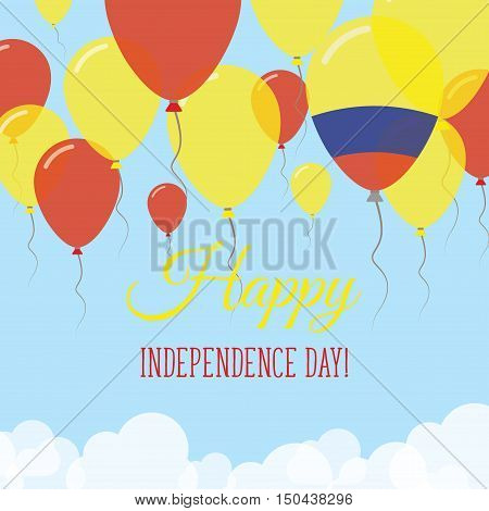 Colombia Independence Day Flat Greeting Card. Flying Rubber Balloons In Colors Of The Colombian Flag